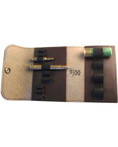 Patronenetui, Leder 3 große / 6 kleine Kugeln / 4 Schrot, braun