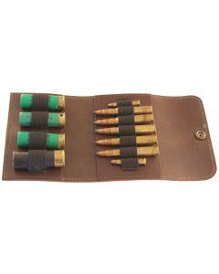 Patronenetui, Leder 5 große / 2 kleine Kugeln / 4 Schrot, braun
