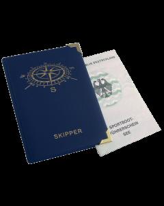 Skippermappe, Motiv Kompass, blau