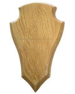 Trophäenschild für Damhirsch, Rothirsch Gehörnbrett 50x25 cm, spitz lackiert