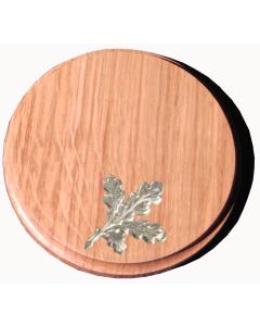 Trophäenschild für Keiler rund 14cm, Set mit Eichenlaub, natur lackiert