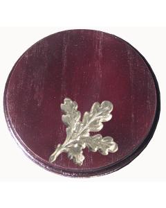 Trophäenschild für Keiler rund 14cm, Set mit Eichenlaub, mahagony