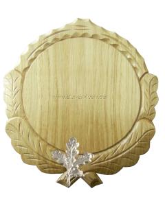Trophäenschild für Keiler rund 18cm, Set mit Eichenlaub, natur lackiert